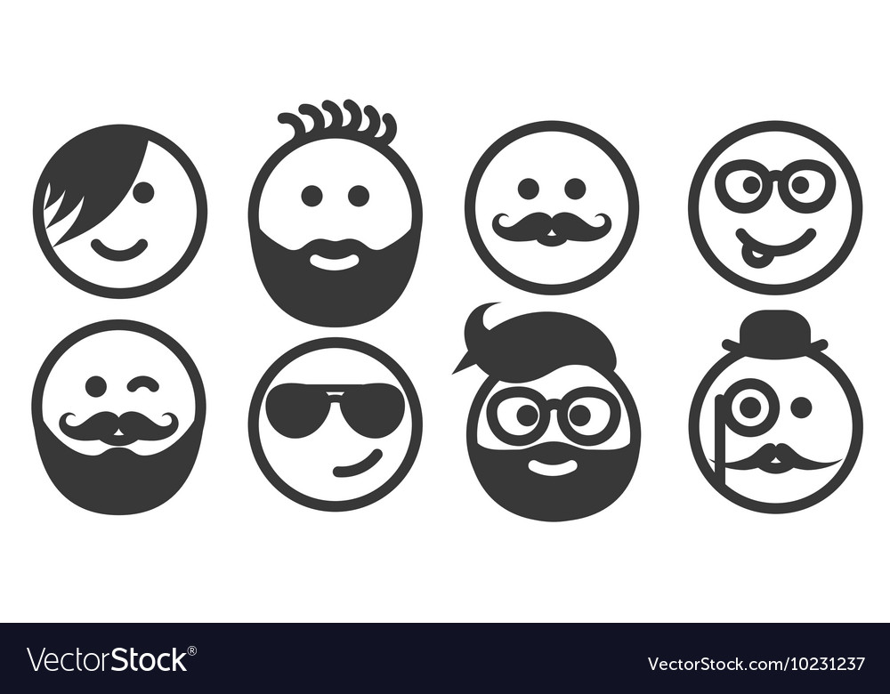 Set of outline hipster emoticons emoji