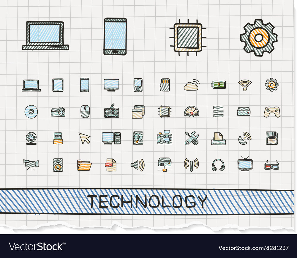 Technology hand drawing line icons doodle