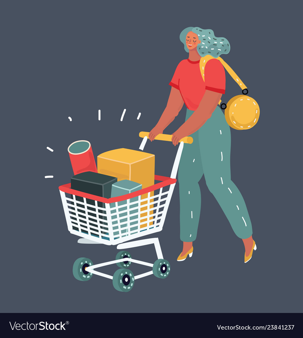 Woman with grocery cart on dark background