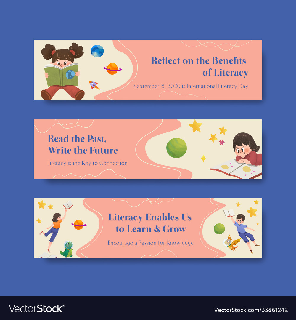 Banner template with international literacy day