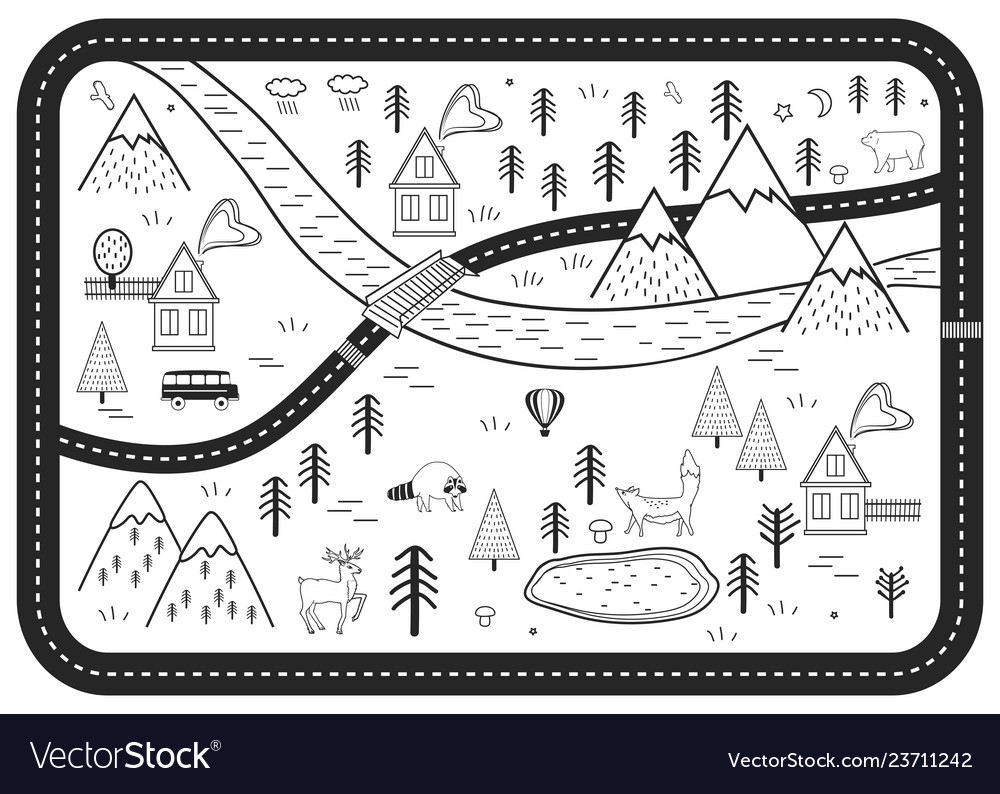 Black and white kids road play mat river
