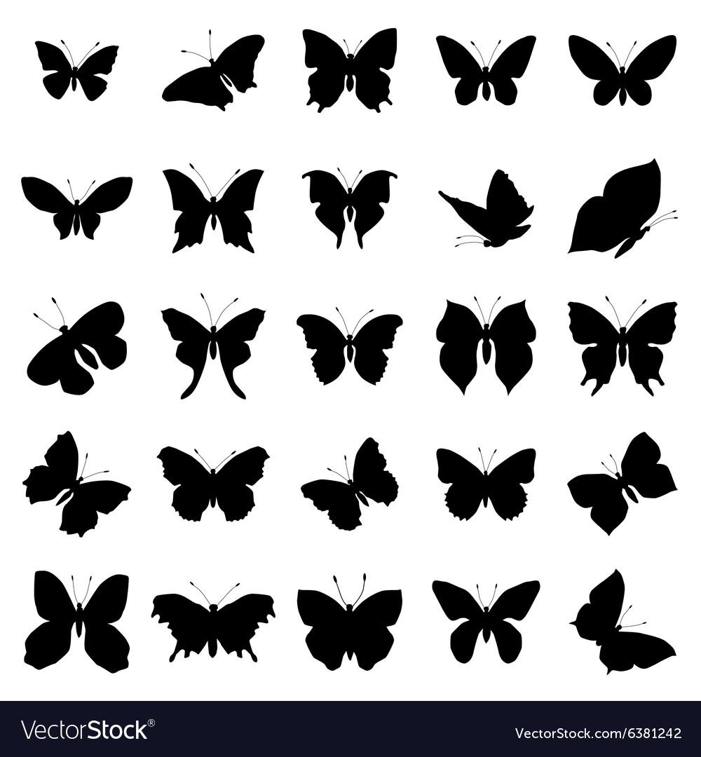 Butterfly silhouette set