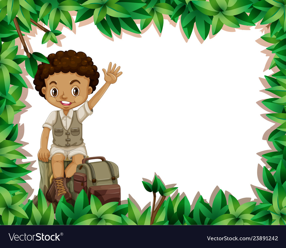 Camping Boy On Nature Frame Royalty Free Vector Image