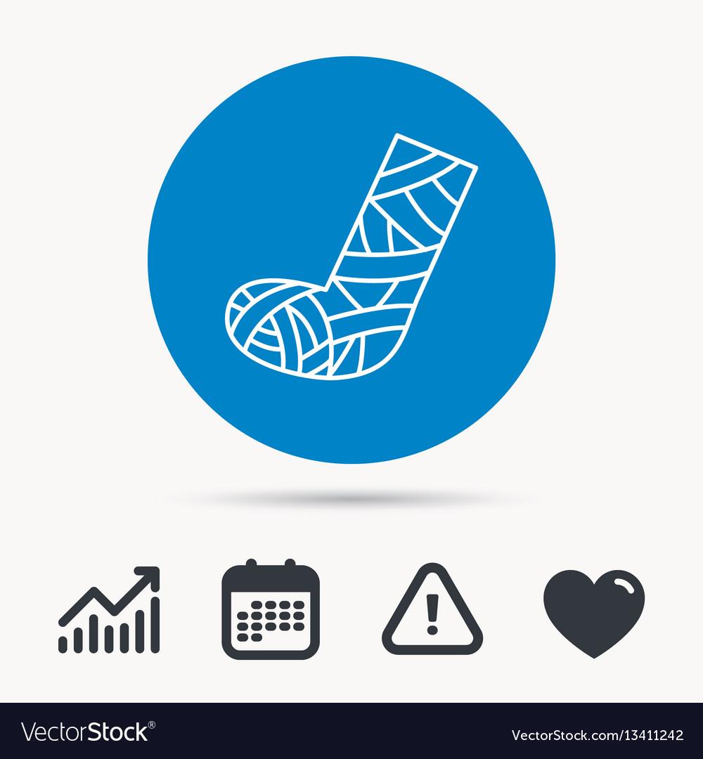 Gypsum or cast foot icon broken leg sign