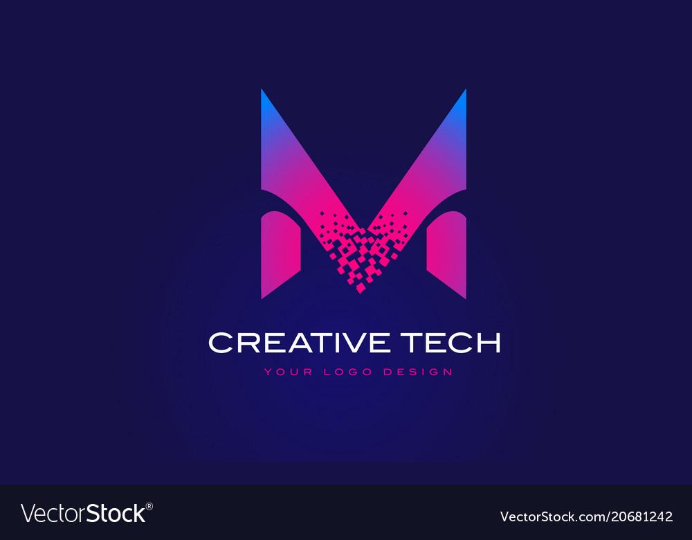 M initial letter logo design with digital pixels