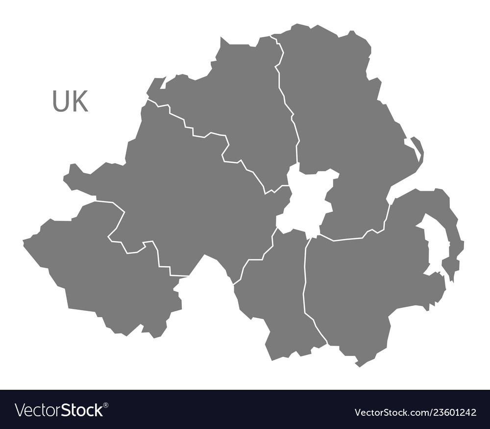 Map Of Northern Ireland Counties.Northern Ireland Map With Counties Grey