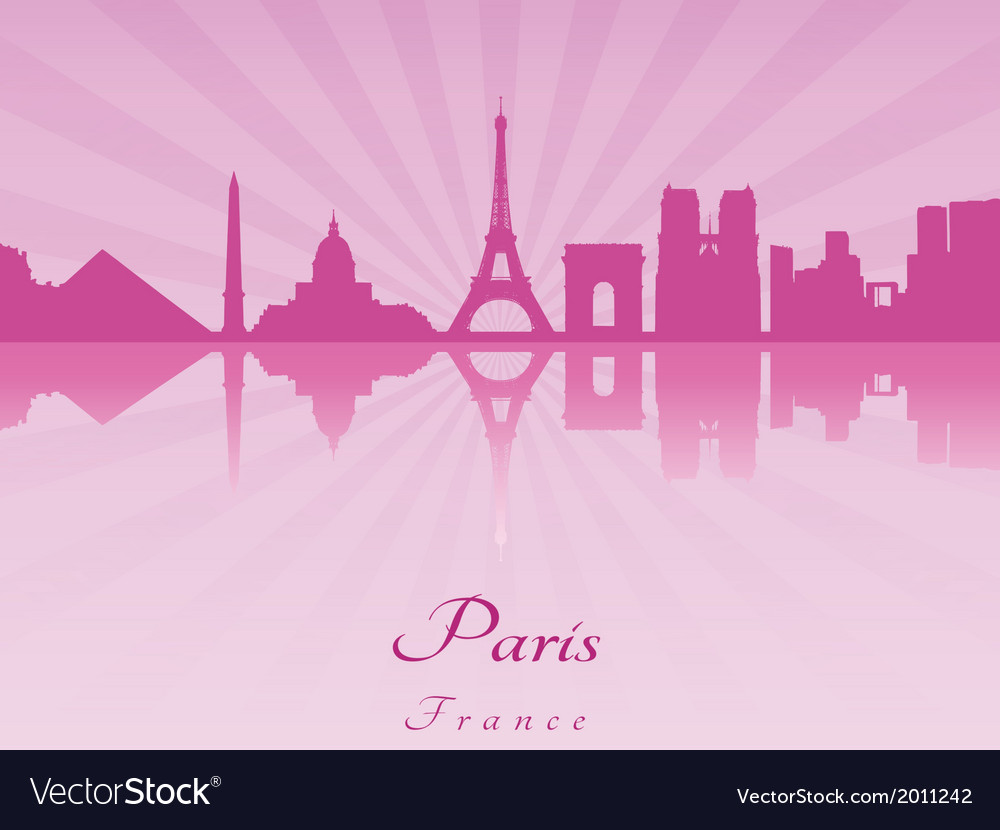 Paris skyline in purple radiant orchid
