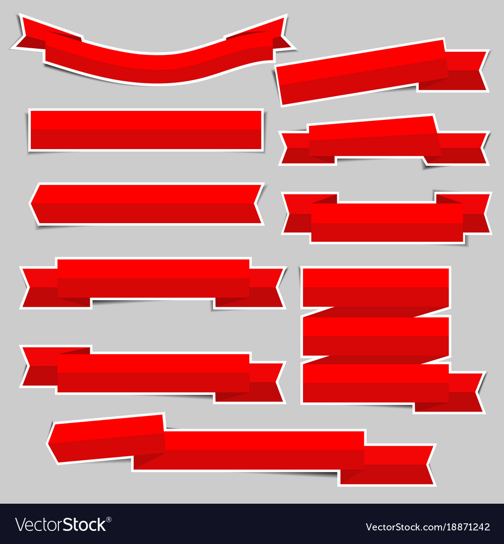 Red paper ribbon banner stickers with shadows
