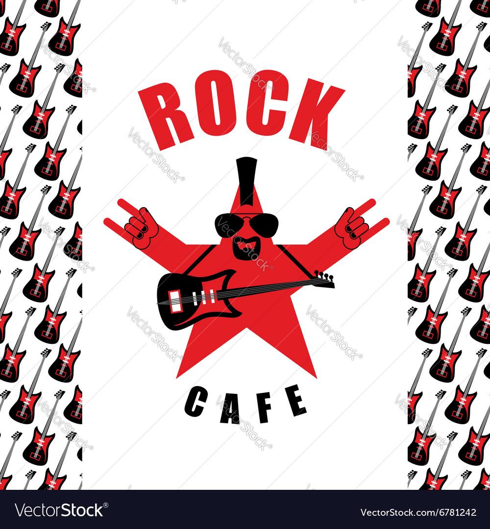 Rock Cafe Logo template for music rock bar Star