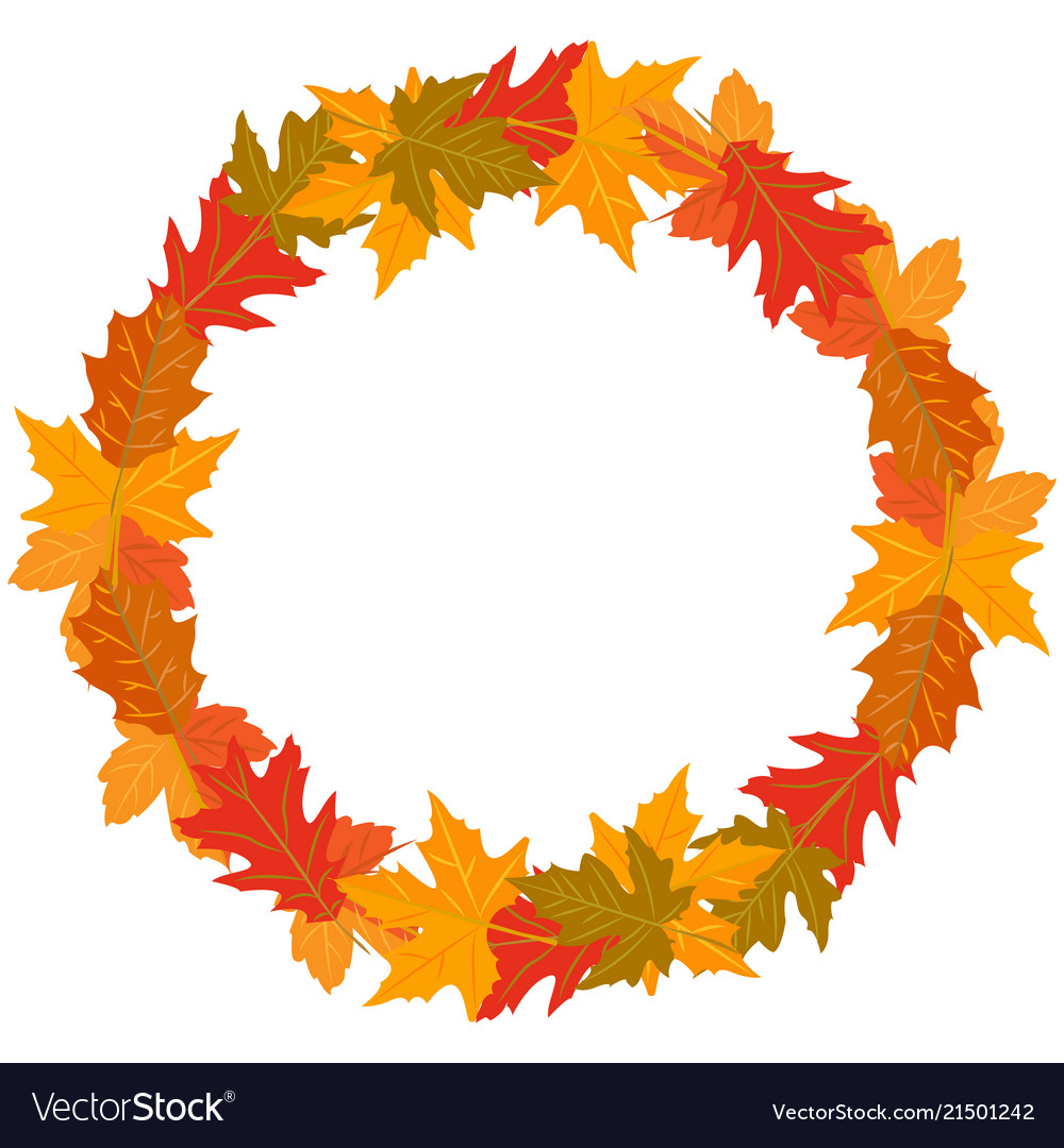 Round wreath of autumn leaves