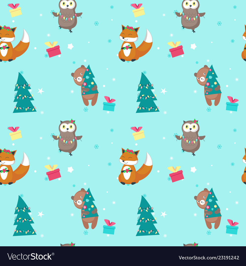 Seamless pattern with cute christmas