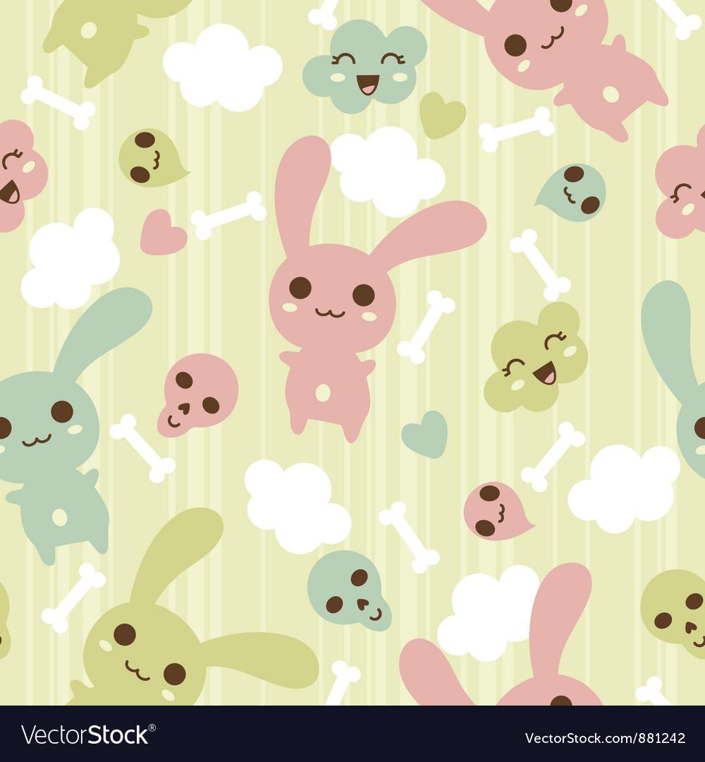 Seamless pattern with doodle kawaii