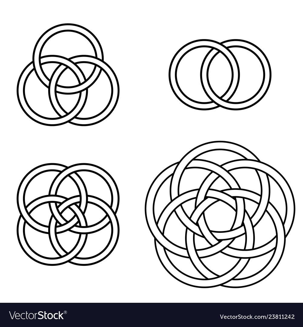 Set patterns intertwined rings logo tattoo