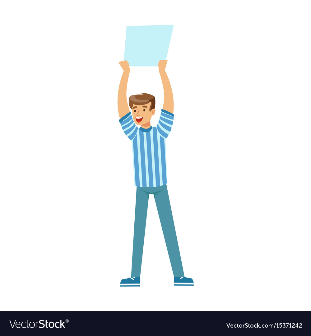 Smiling football fan character in blue holding vector image