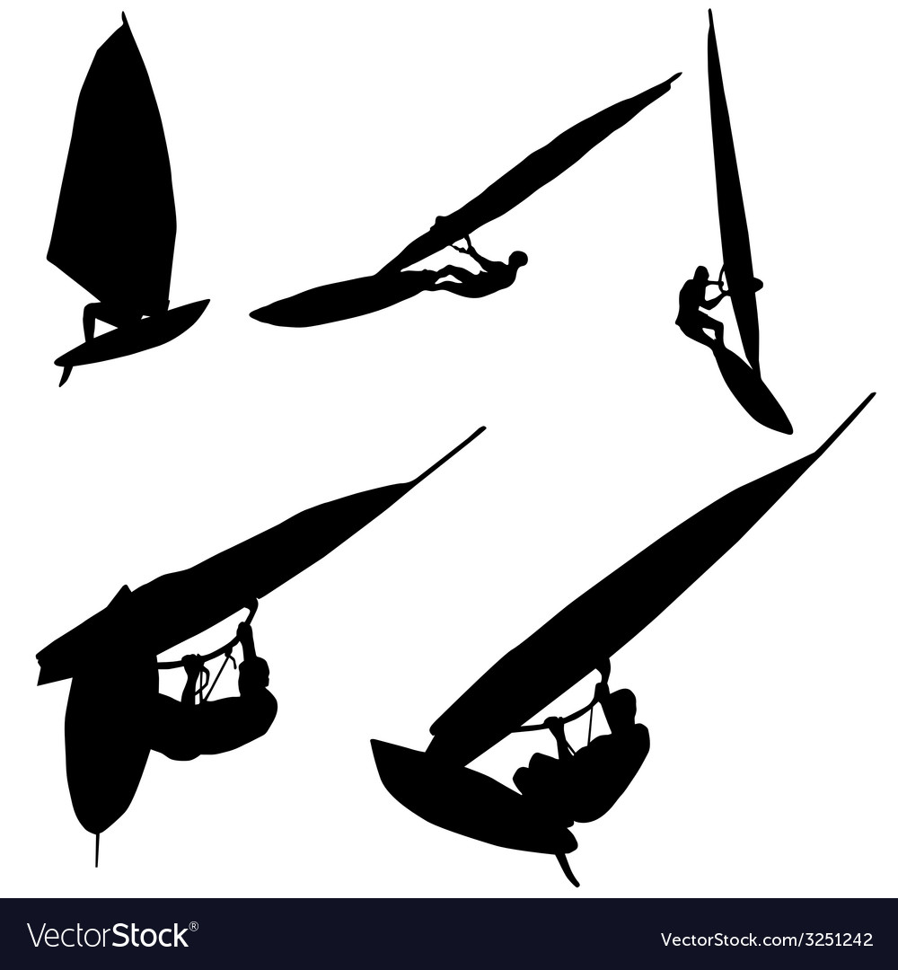 Surfing in black silhouette vector image