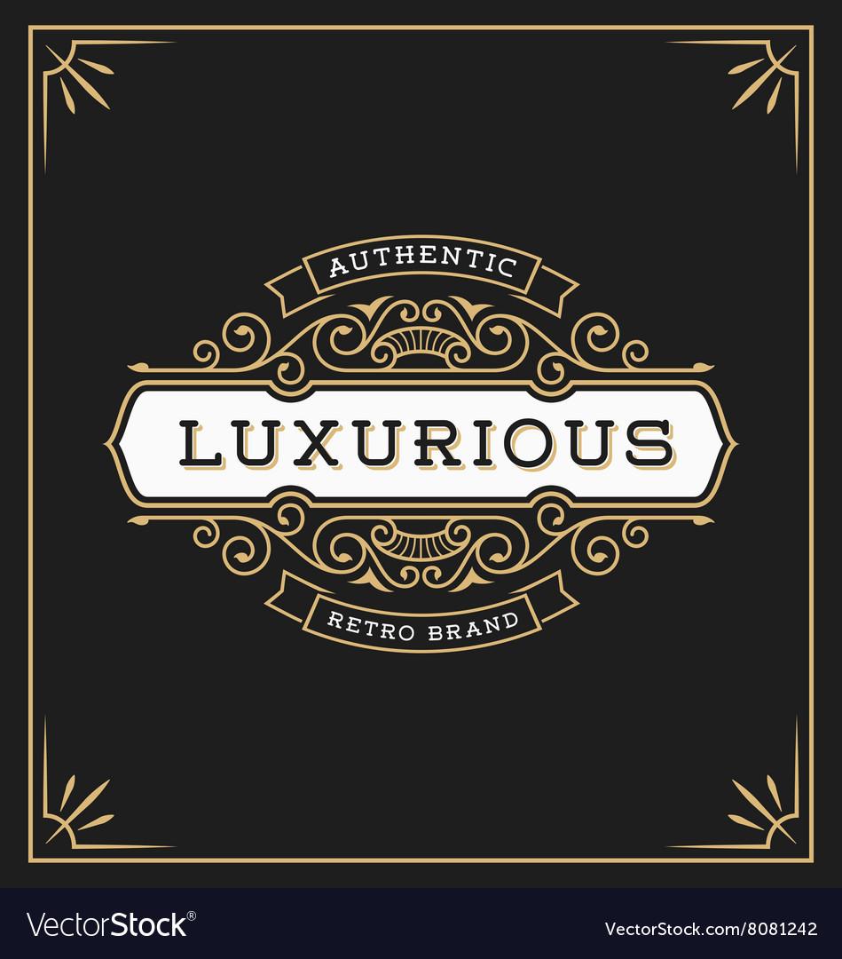 Vintage flourish logo label template vector image