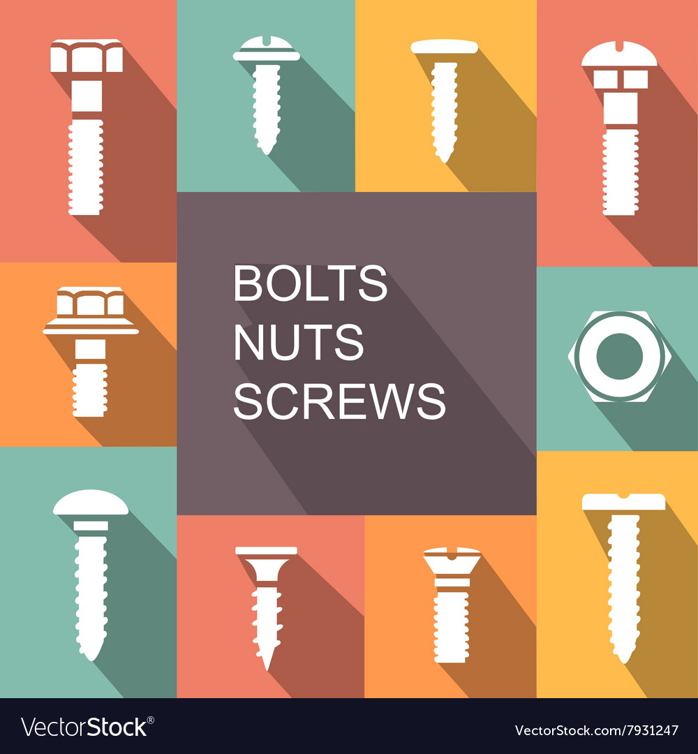 Bolts nuts and screws colored icons