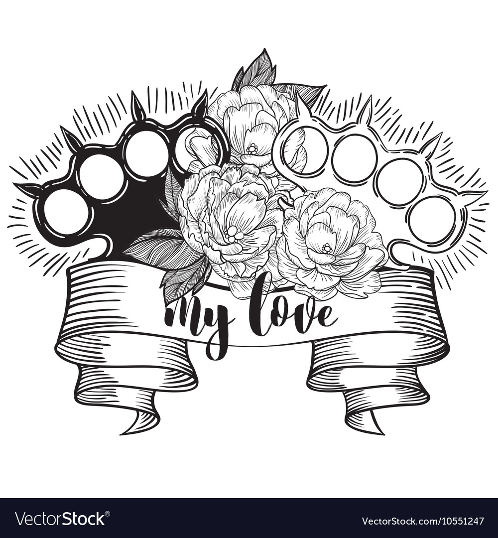 Brass knuckles in roses Old school tattoo style vector image