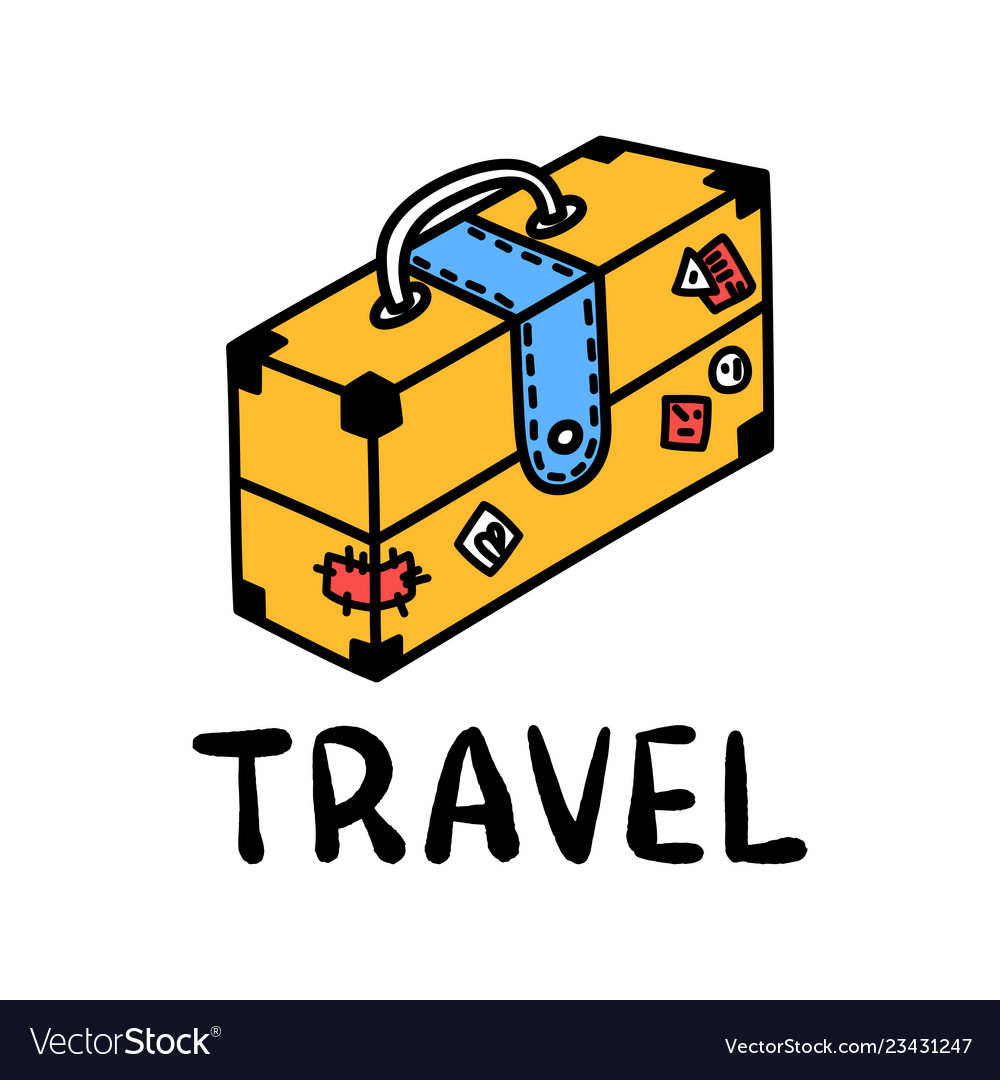 Cartoon travel suitcase doodle lettering for