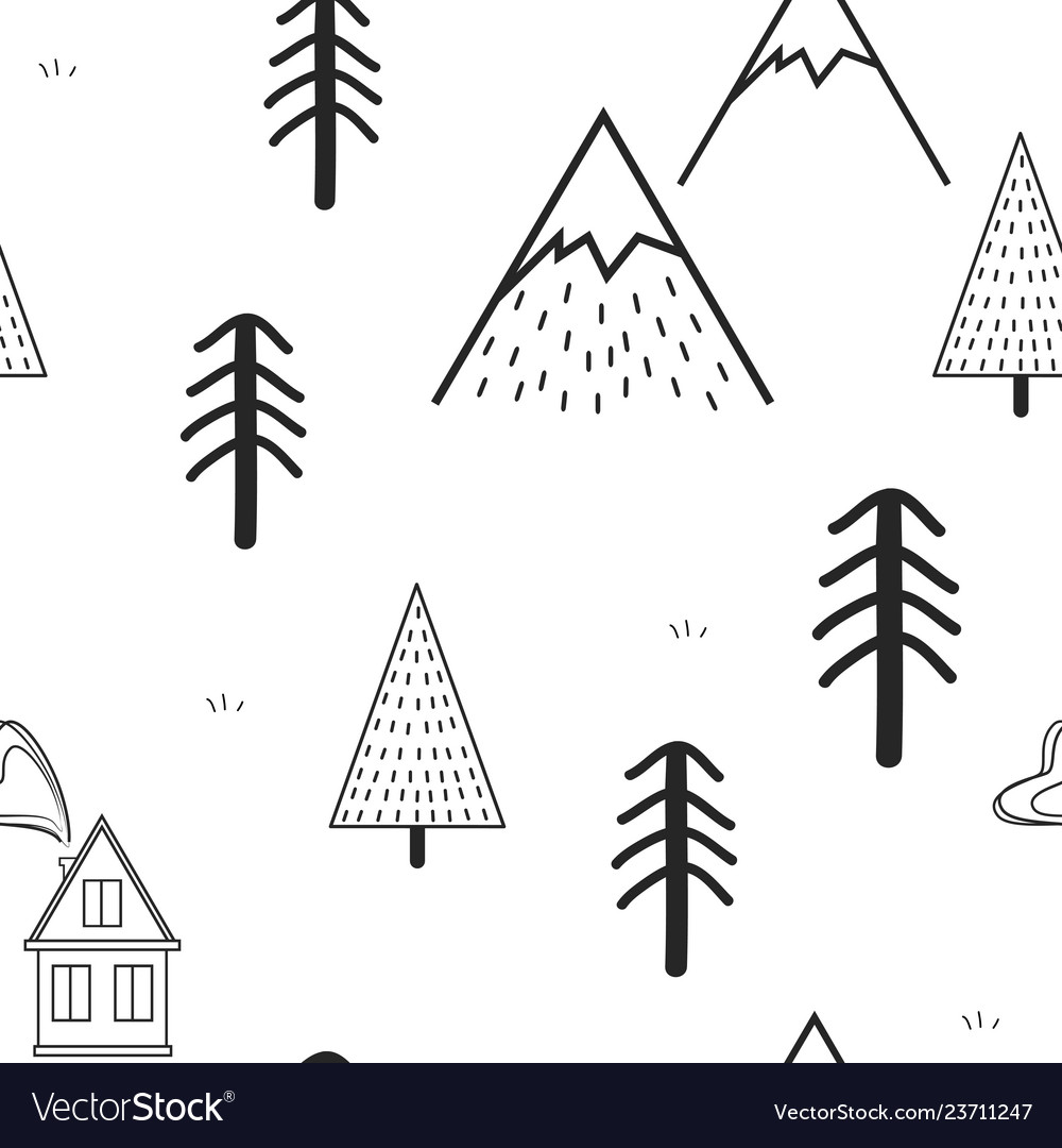Cute hand drawn seamless pattern with trees house