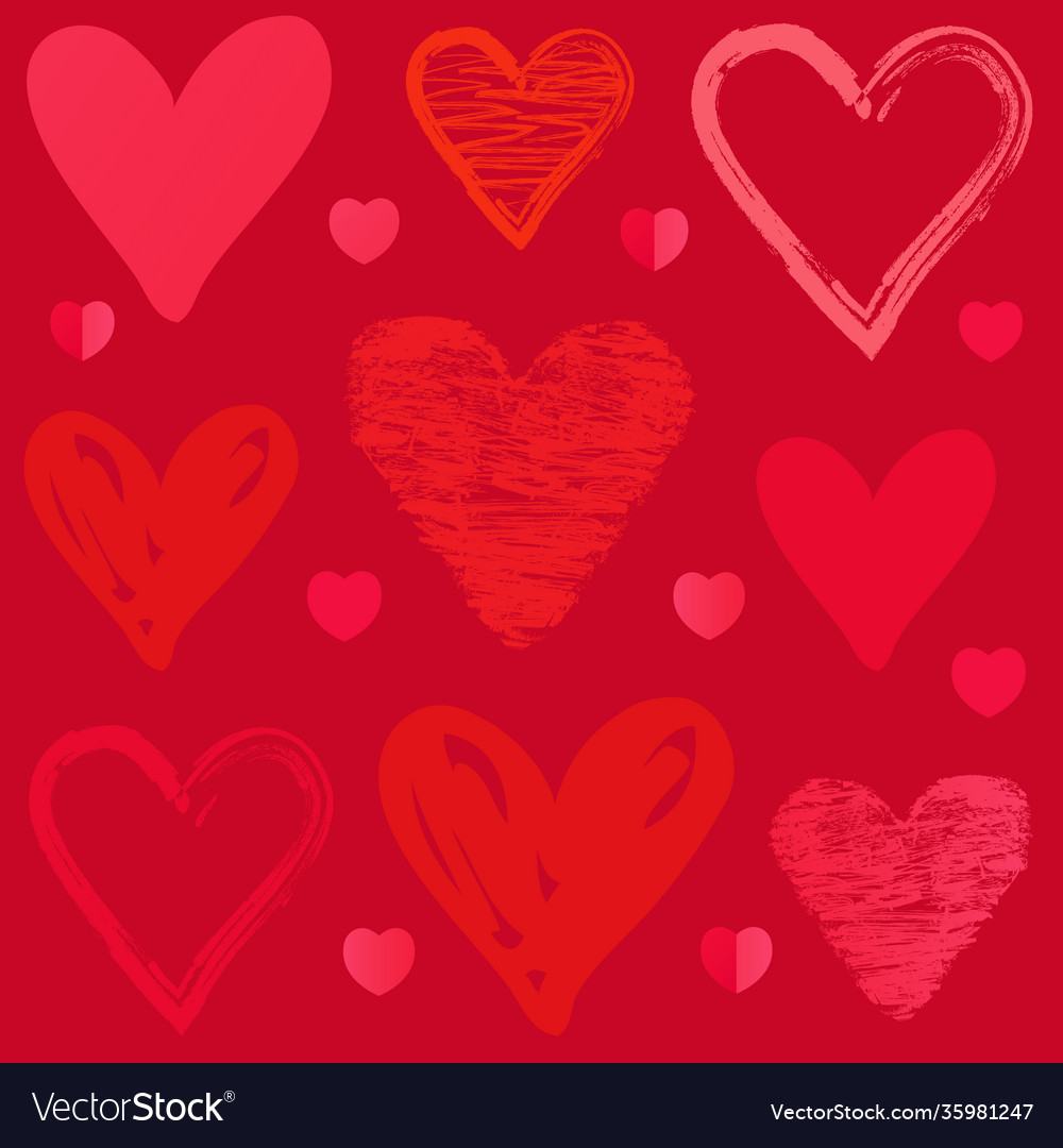 Doodle sketch heart pattern on pink background