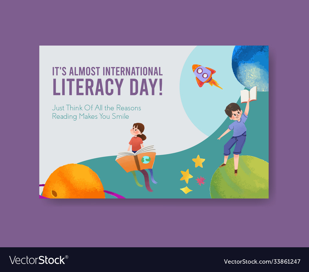 Facebook template with international literacy day