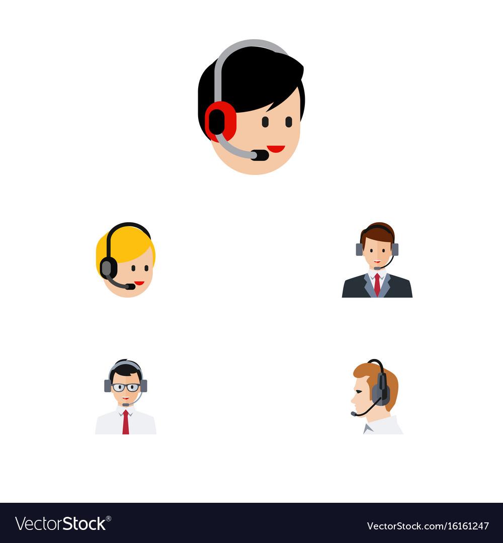 Flat icon telemarketing set of hotline help call