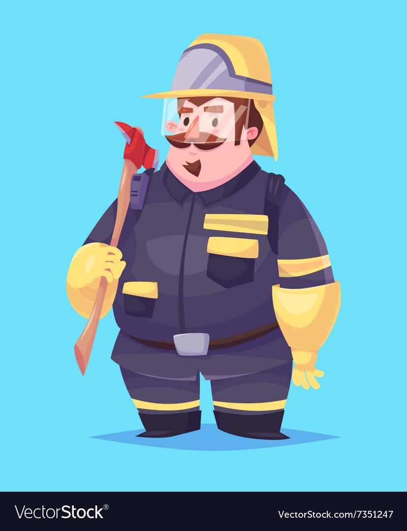 Funny of fireman cartoon character