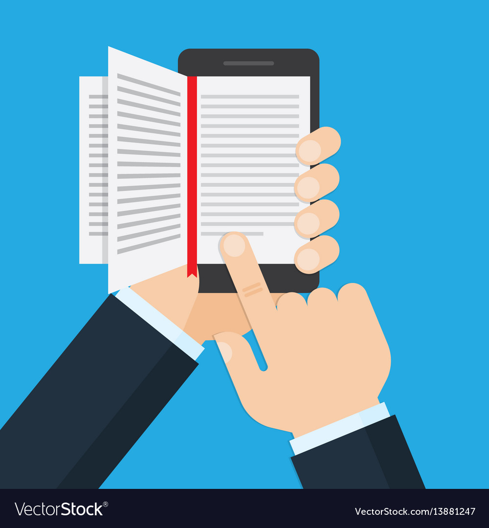 Hand holding a mobile phone with an open book on