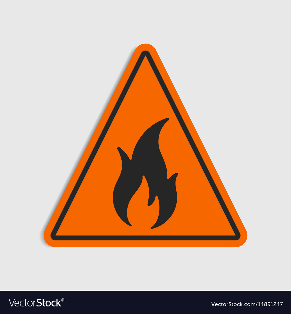 Hazard Warning Sign Flammeble Fire In Royalty Free Vector