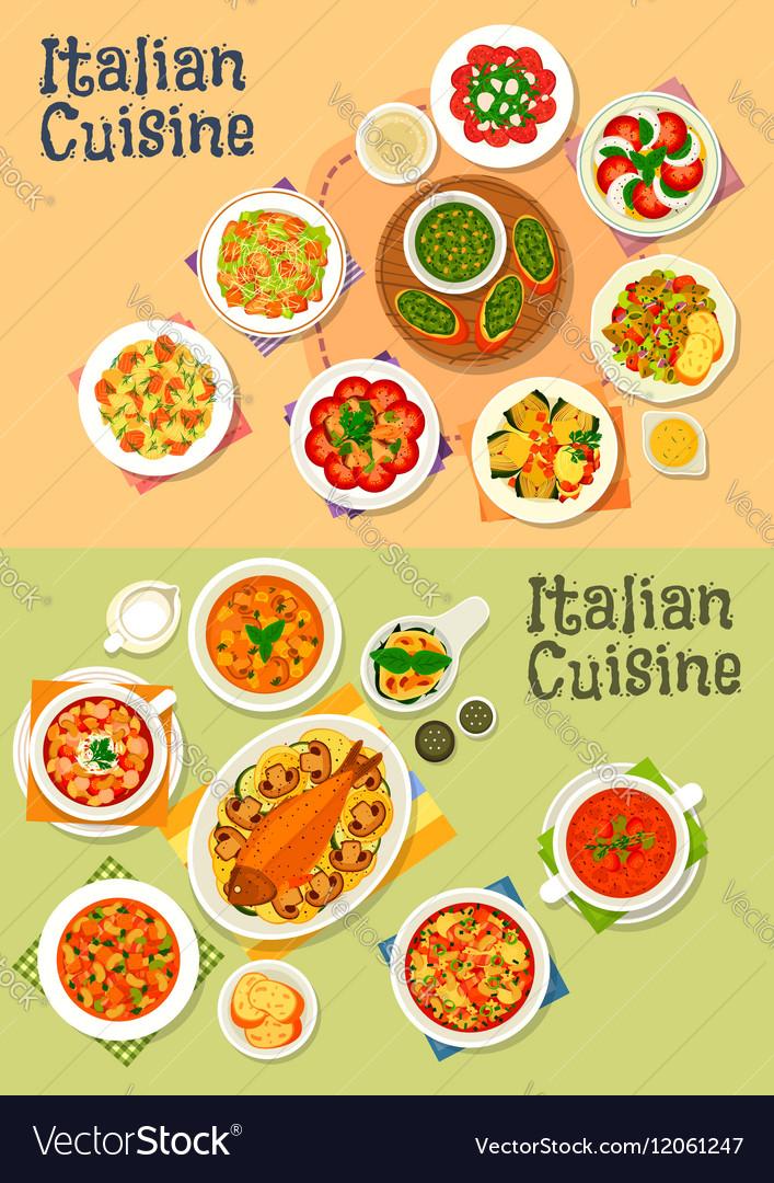 Italian cuisine icon set for dinner menu design