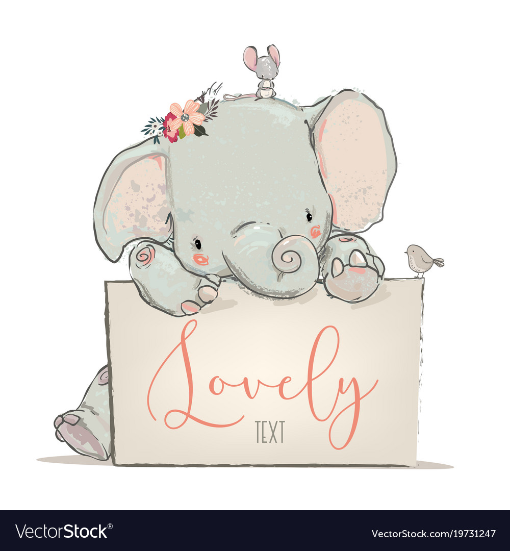 Little lovely elephant with mouse and bird