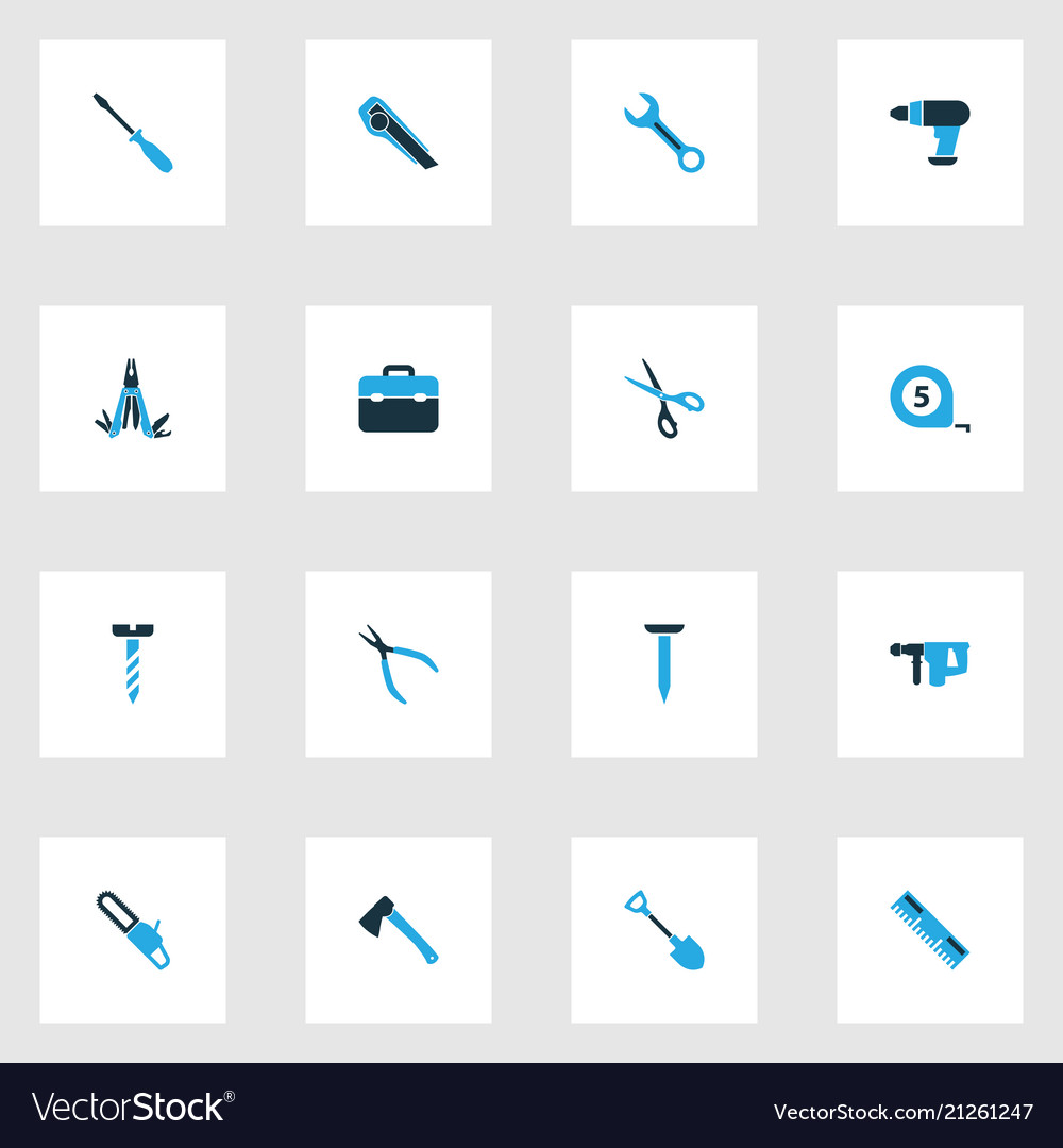 Repair icons colored set with measurement hatchet
