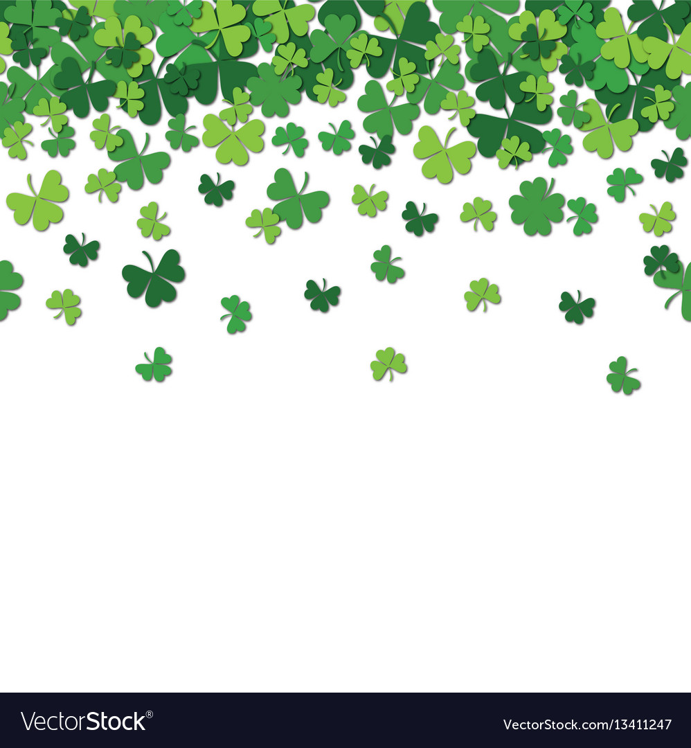 Seamless pattern with shamrock clover falling vector image