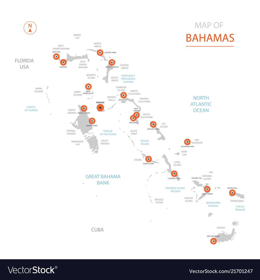 stylized bahamas map showing big cities capital vector image