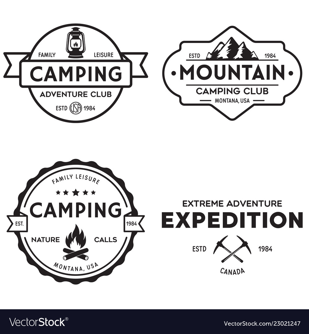 Summer camp with design elements camping and