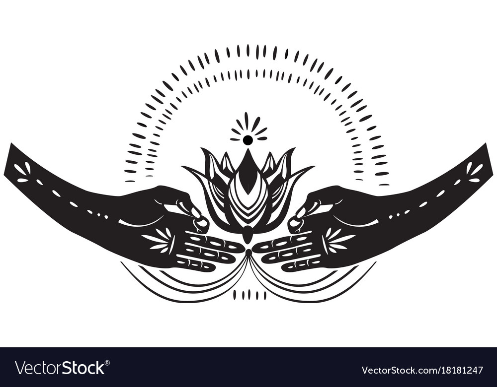 Two hands holding lotus flower vector image