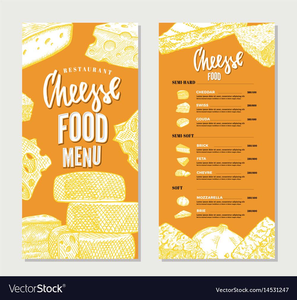 Vintage Cheese Restaurant Menu Template Royalty Free Vector