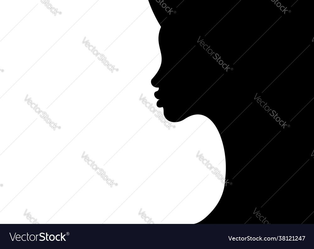 Woman profile silhouette on white background