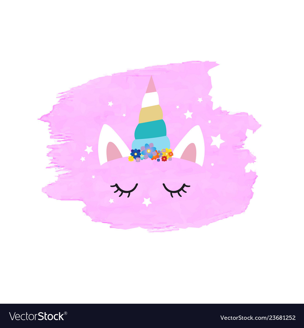 Cute unicorn face and pink blob vector
