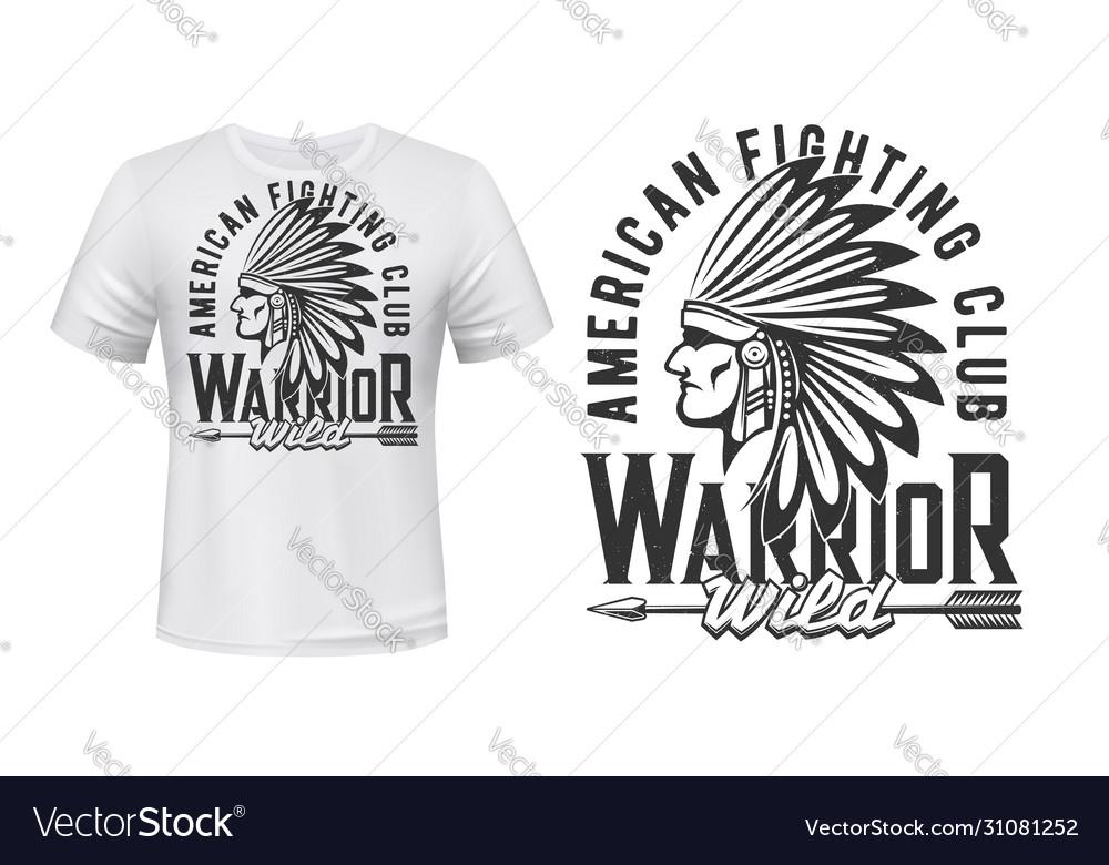 Indian warrior fighting club t-shirt print