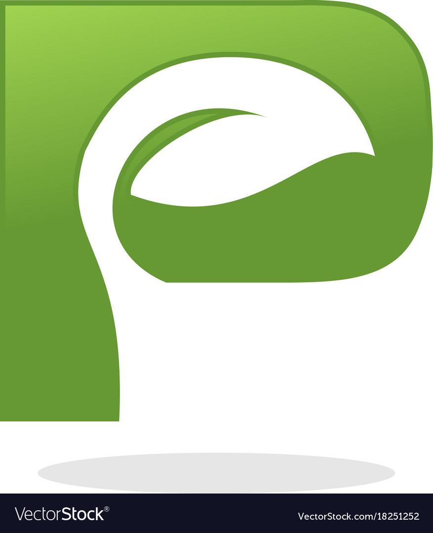 Letter p leaf logo