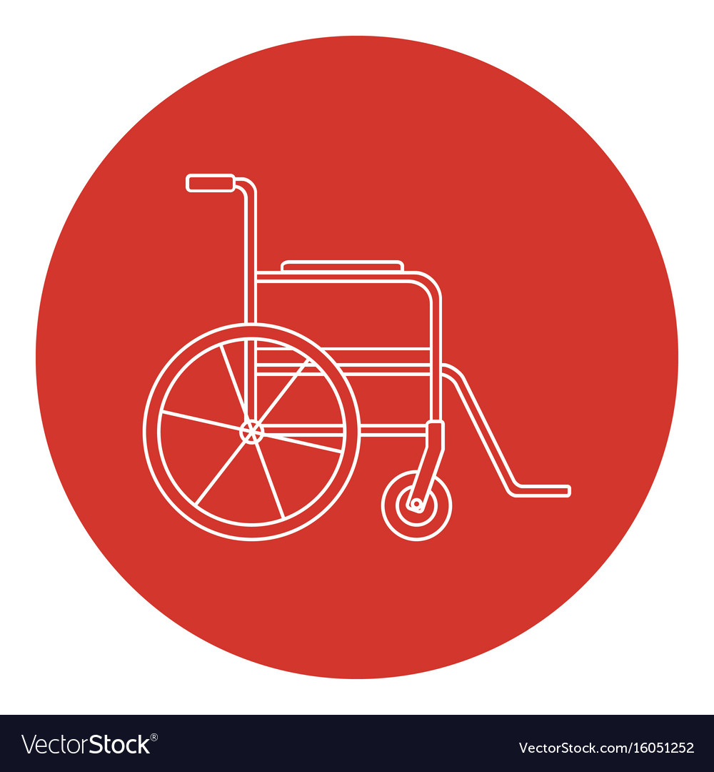 Line art style wheelchair icon