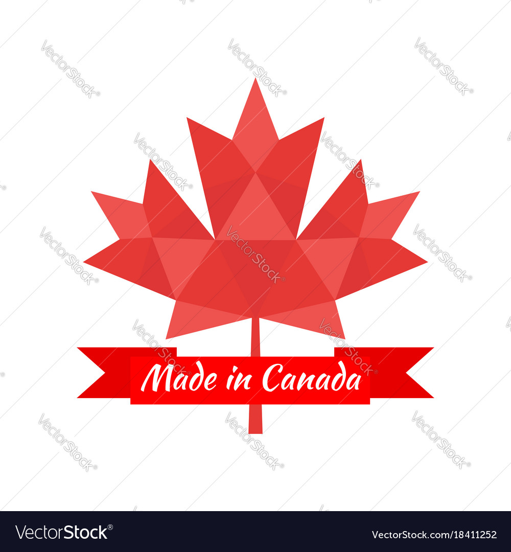 Made in canada banner flag red maple leaf