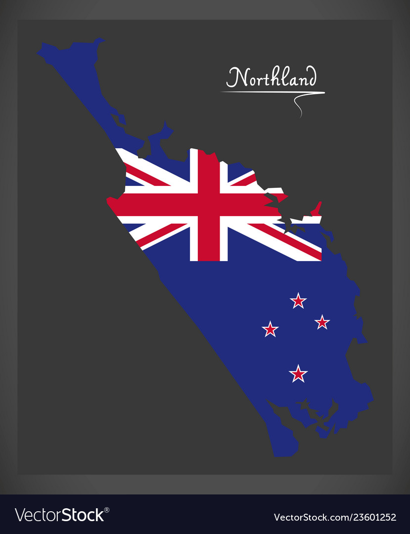 Northland New Zealand Map.Northland New Zealand Map With National Flag
