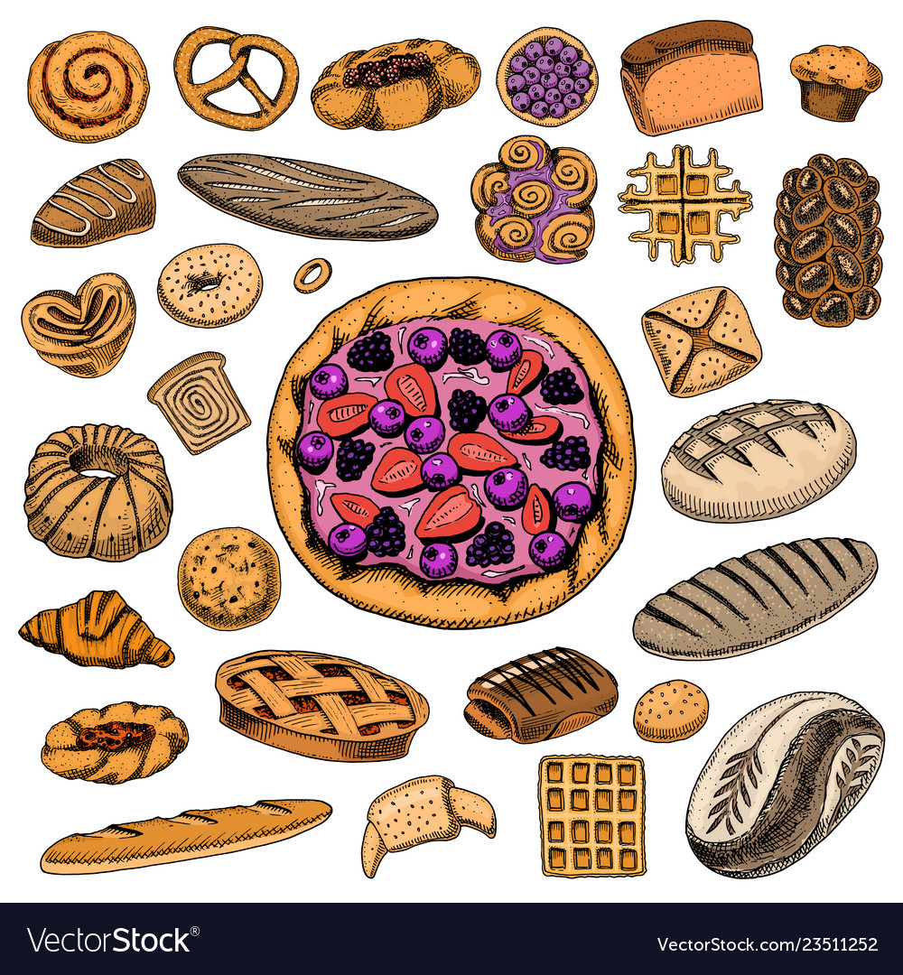 Set of bakery and pastry products bread and pie