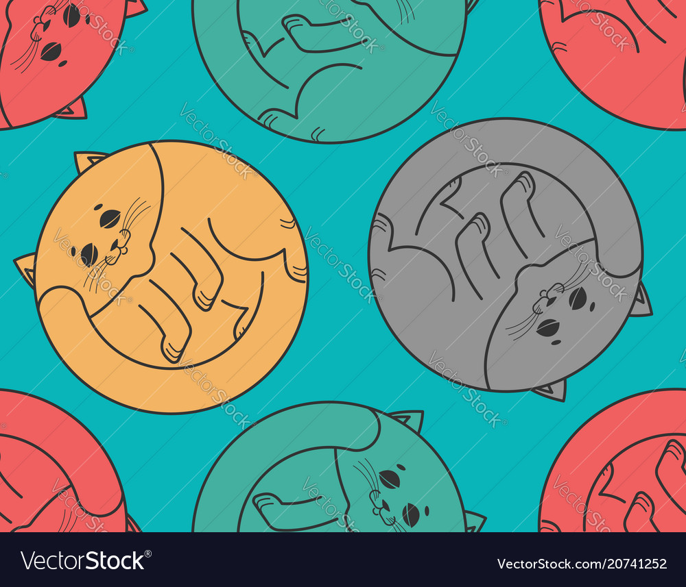 Sleeping cat seamless pattern home pet sleeps