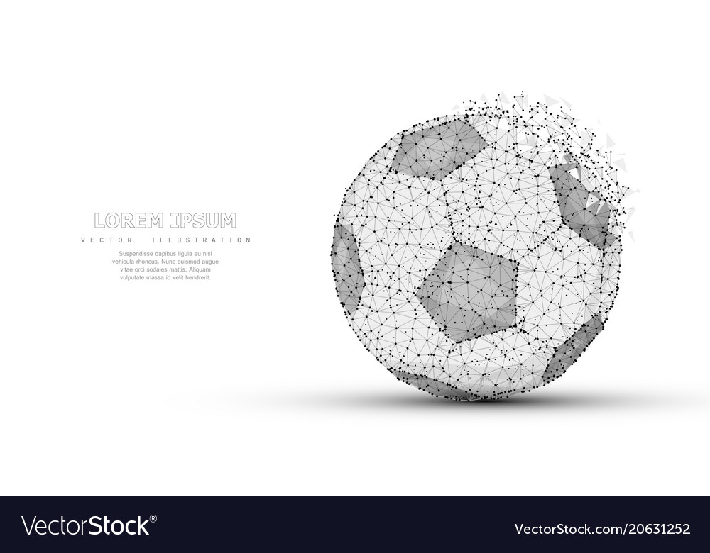 Soccer ball low poly wireframe mesh soccer vector image