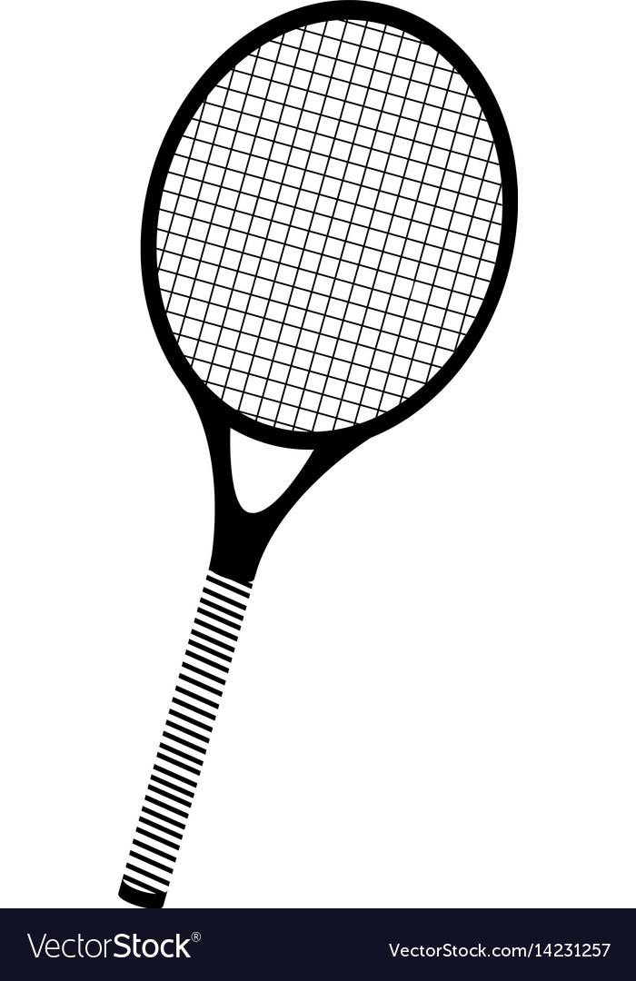 Black silhouette tennis racket element sport