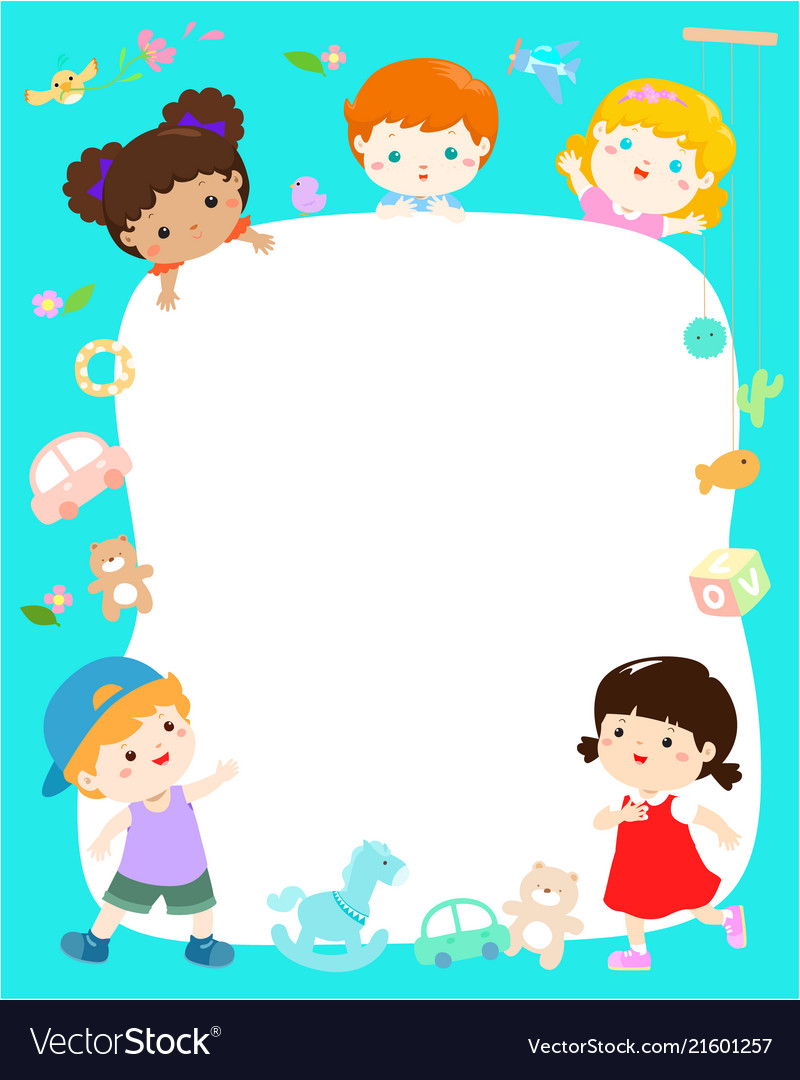 blank template cute multiracial kids poster design